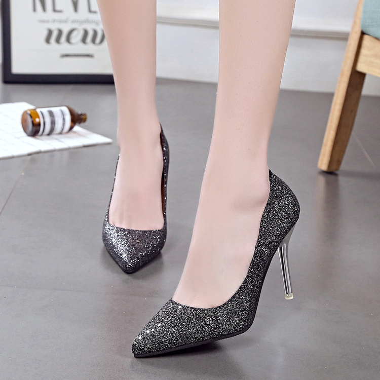 2017 new spring super high heels with fine wedding shoes fashion Bridesmaid shoes all-match shallow mouth work in documentary shoes
