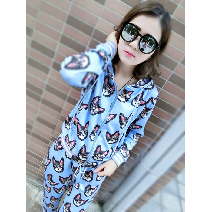 2015 autumn Li Xiaolu with cat prints set cats harem pants hooded jacket feet two-piece
