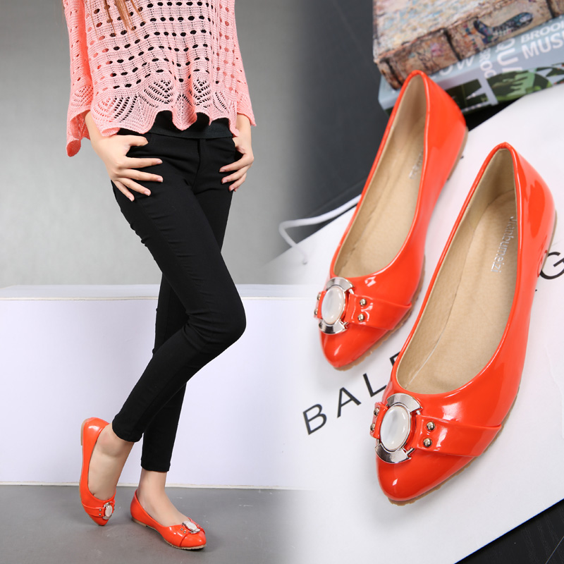 Autumn shoes female 2015 new Europe stand pointed flat single orange low and work shoes lighter flat with doug