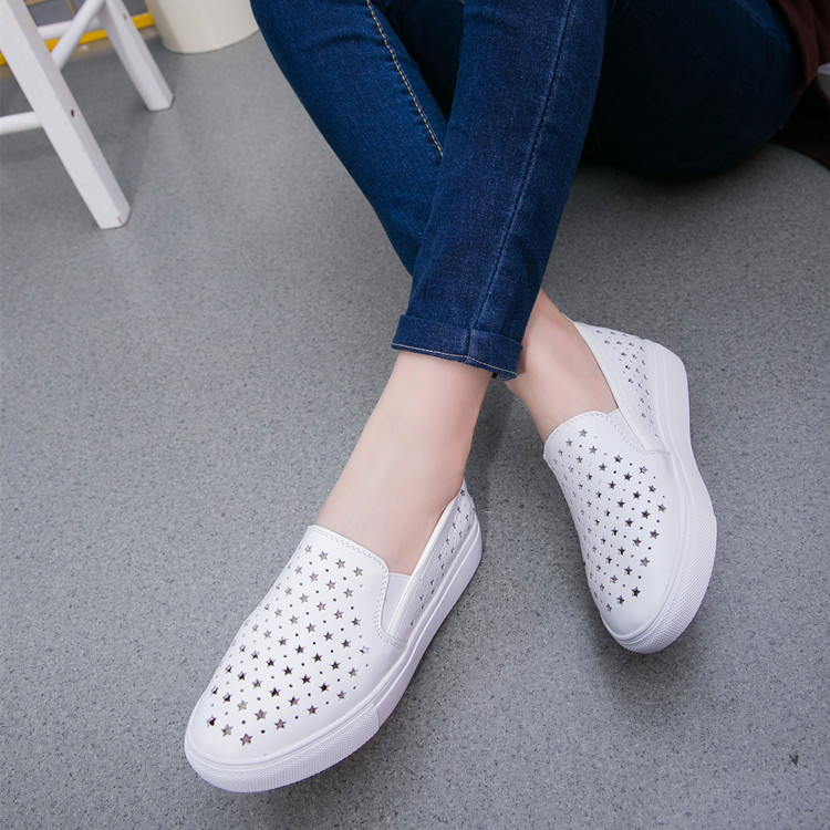 White shoe leather flat engraved Korean version of the new spring and summer empty lazy shoes casual shoes pedal Kevin