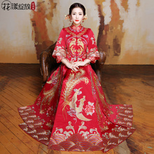 Show Wo clothing bride 2018 new spring and summer toast clothing Chinese wedding dress cheongsam wedding dress dragon phoenix show and