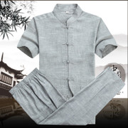 The elderly male costume style cotton short sleeved suit Chinese men's father put old male short sleeved summer men