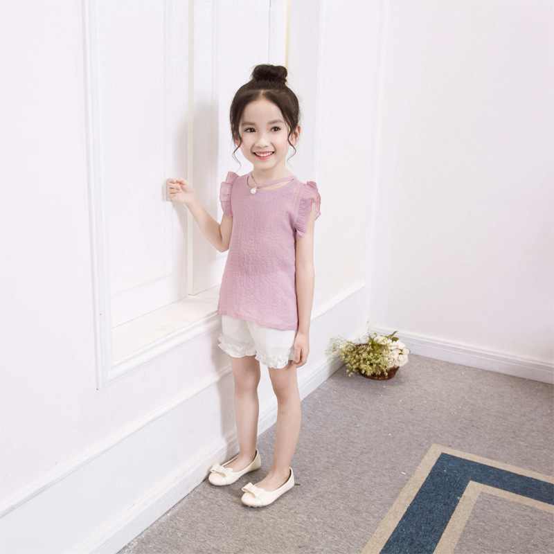 2017 Girls New Summer Korean version, simple short sleeved T-shirt + Shorts Set of two sets