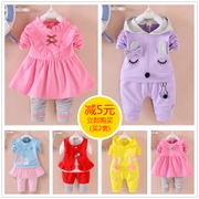 2017 new female baby girls spring long sleeves and 0-1-2-3-4 years old infants and children's clothing clothing