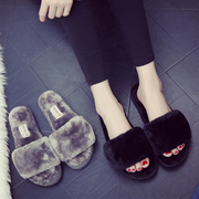 The thick cotton slippers bottom in winter Home Furnishing interior wooden floor plush slippers female drag a month of winter