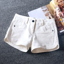 The new version of black waisted denim shorts female elastic spring slim slim down simple shorts shorts