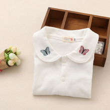 2015 girls spring children baby cotton long sleeved T-shirt shirt Lapel shirt embroidered Butterfly
