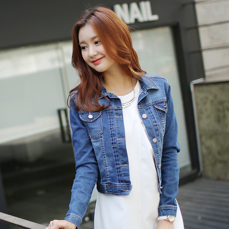 South Korean film han edition of new fund of 2015 autumn jean jacket women cultivate one's morality long sleeve short jacket