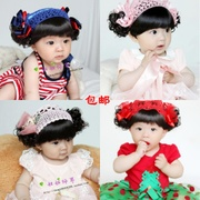 Korean female baby baby girls hair wig hair band Korea headdress Princess wig hat 0-1-2-3 years old