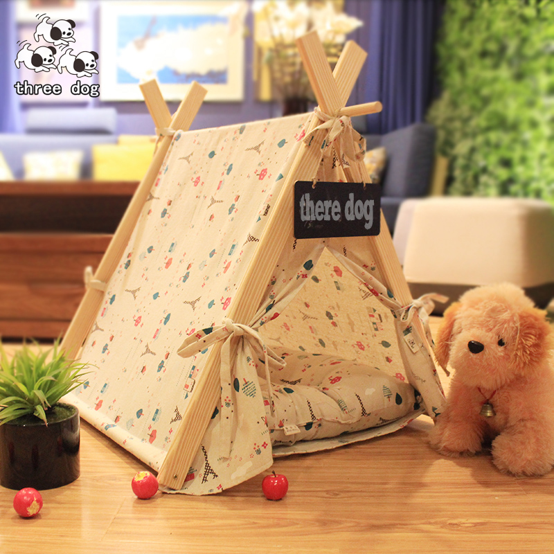 Dog kennel, summer, fall, Can unpick and wash the solid wood dog tents dog house cat nest nest room than the teddy bear dog pet Waterloo