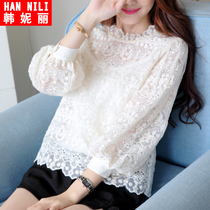 Womens spring loaded new Korean 2016 chiffon plus size blouse shirt gauze shirt womens long sleeve lace shirts at the end of the tide