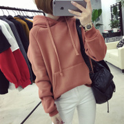 Ladies sweater hooded with cashmere loose Korean students new winter dress tide solid Hooded Jacket BF thickening