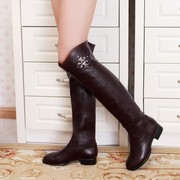Large size new leather boots boots boots 4043 size leather flat with big drum Wai Fat MM boots