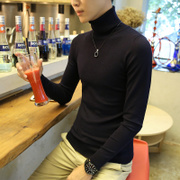 Korean men's black turtleneck sweater slim turtleneck sweater shirt male British students fashion sweater