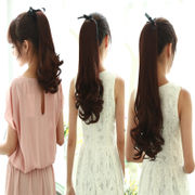 Female wig wig ponytail roll horsetail roll straight tail length pear real hair hair extensions bandage type Masson