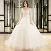 2017 new Korean pregnant women V collar thin bride wedding dress size large tail princess dream