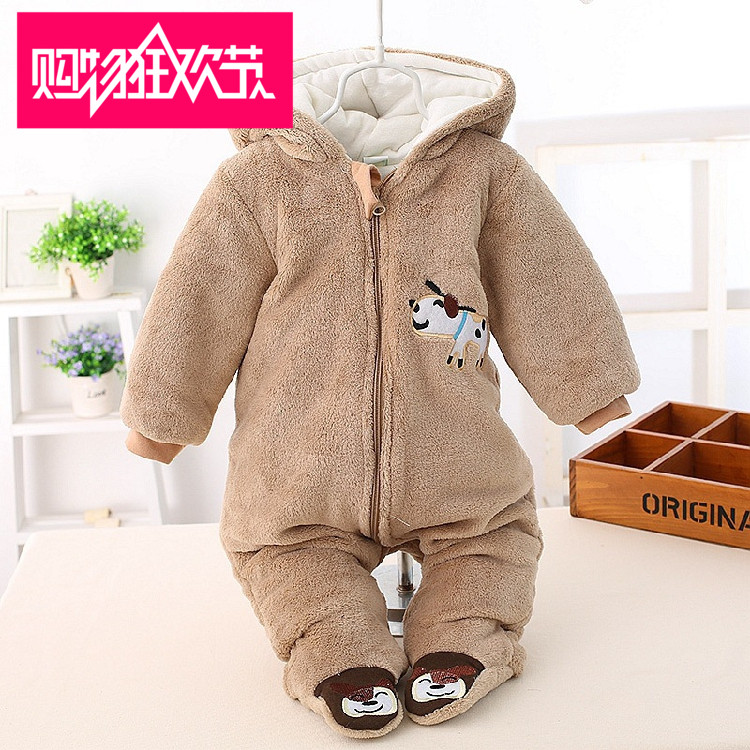 Newborn onesies 0-1 infant baby dress baby coral fleece romper spring and autumn winter padded out clothing