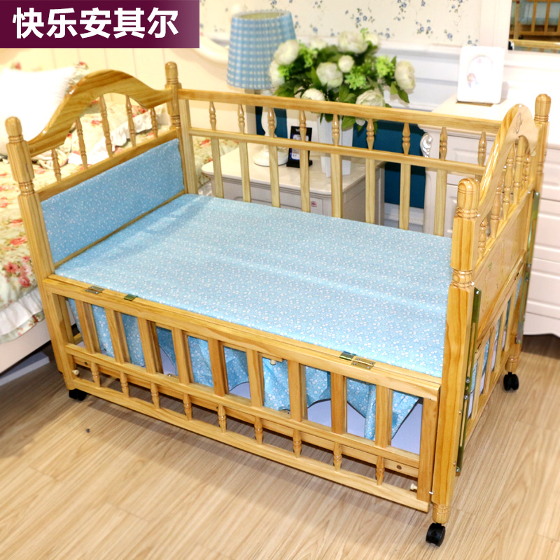 European green paint multifunction cradle multifunctional solid wood crib bed child crib Pack-mail