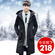 2016 new winter jacket men long hooded young British men's slim thickened thickened coat.