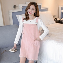 2017 the new trend of maternity flash wash water cowboy suspenders skirt Korean dress T-shirt