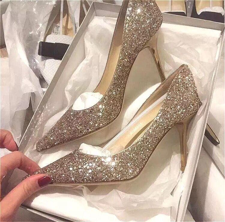 明星同款水晶鞋银色尖头细跟单鞋亮片渐变高跟鞋伴娘新娘鞋婚鞋女
