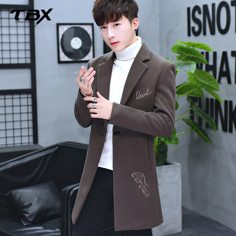 男士外套2017秋冬季新款刺绣中长款风衣韩版潮流修身帅气呢子大衣