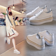 White shoes 2017 new all-match Korean students leather platform shoes leisure shoes single women