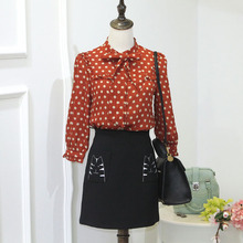 Hitz Korean bow tie single breasted jacket Q78025 female agaric Polka Dot Chiffon shirt tide