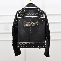 High-end custom motorcycle leather Sheepskin short rivet leather jacket women plus cotton embroidered jacket coat winter new style