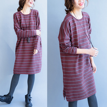 Fat sister shirts at the end of long loose sweater girls fall winter sets in Korean version of the thick literary fan stripe knit sweater