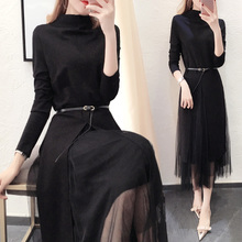 2017 autumn new dress tide in autumn and winter fashion girl slim skirt Winter Knit Dress female backing
