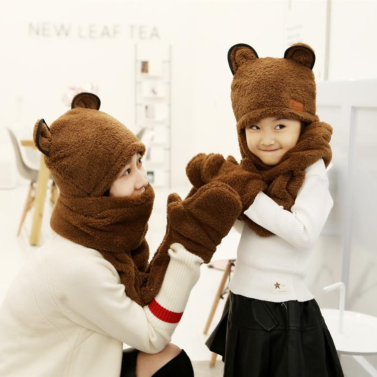 秋冬季男孩女孩加厚加绒儿童护耳帽宝宝帽子围巾手套三件一体套装