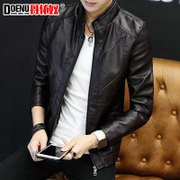 Leather Men Korean version of the handsome men's coat Slim trend plus cashmere 2017 new winter leather jacket young men