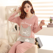 Autumn autumn autumn spring cotton long sleeved pajamas female female Cute Cotton Home Furnishing suit winter pajamas Ms.