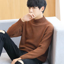 Winter sweater turtleneck sweater half Korean men sweater shirt thickened personality trend coat tide