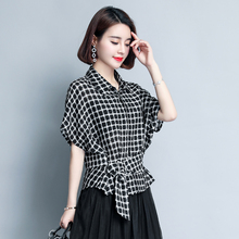 Plaid shirt female summer shirt 2018 new Korean loose loose chiffon shirt European short-sleeved bat shirt