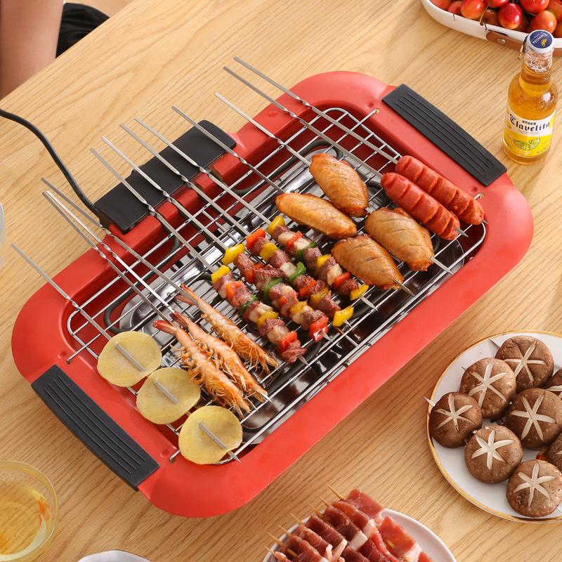 电烧烤炉无烟烧烤架家用烧烤用具电烤盘烤肉炉锅架子室内烧烤串机