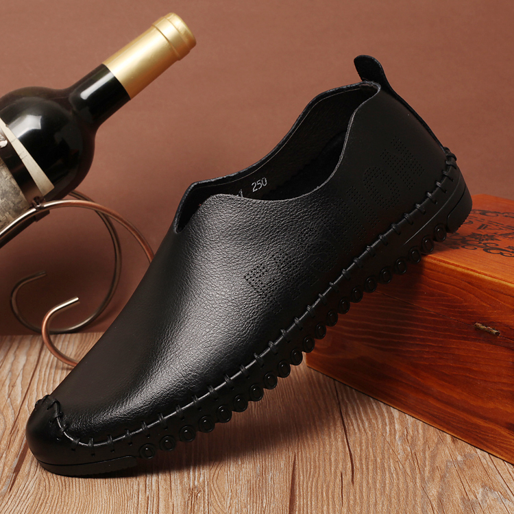 Mens Casual leather shoes handmade leather shoes authentic British pop single spring air bag mail men's shoes