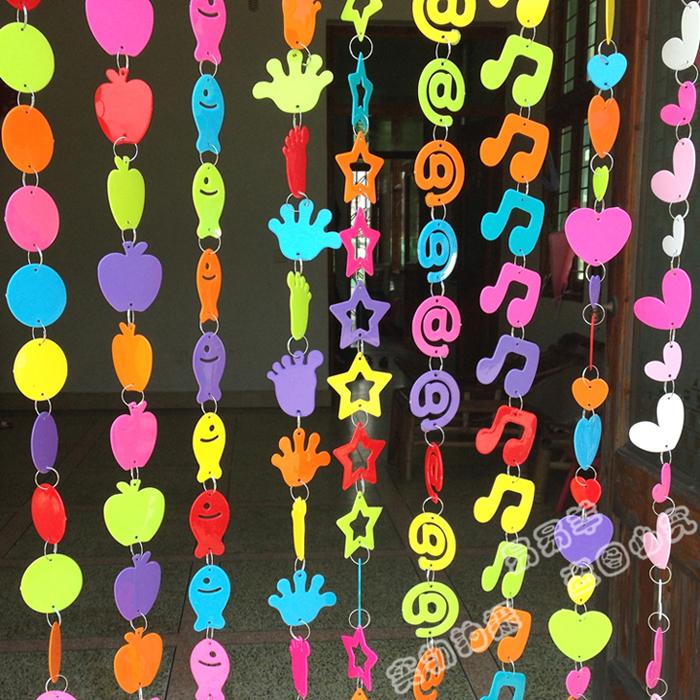 幼儿园室内外装饰门帘可爱隔断帘挂饰*墙壁DIY卡通彩色塑料挂饰