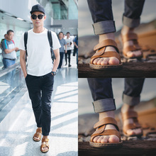 Mens sandals 2018 new summer Korean soft bottom leather sandals mens casual shoes slippers beach shoes mens shoes tide