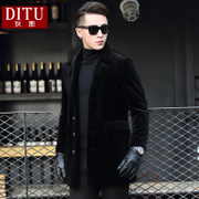 Haining fur men long cashmere wool coat fur leather middle-aged male male one thick section