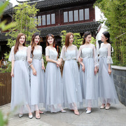 2017 new bridesmaid dresses long Korean sisters dress skirt slim party dress winter annual evening dress