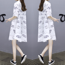 European goods 2018 summer new women's clothing Code loose thin dress female long dovetail casual shirt skirt