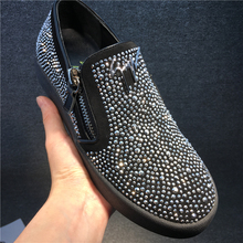 New gz men's shoes low shoes hot drilling leather leather shoes shoes loaf shoes lazy shoes lovers shoes cl shoes tide