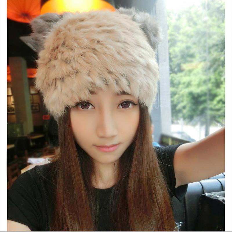 韩国帽子女冬天潮可爱毛线帽保暖时尚针织帽猫耳朵帽兔毛休闲百搭