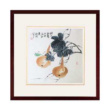 纯手绘国画葫芦斗方小品客厅装饰字画写意花鸟画真迹已装裱带有框