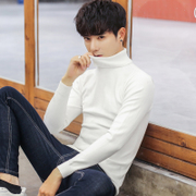 Winter turtleneck sweater male Korean Slim trendy white men's bottom sweater plus velvet long-sleeved shirt thickening