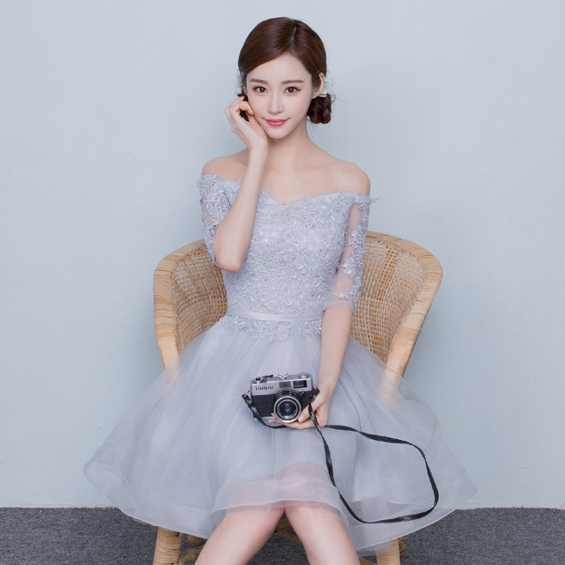 2016 summer, five minute sleeves, a word, a female banquet, a female banquet, a Korean version of a bridesmaid suit, a short, gray lace Tuxedo