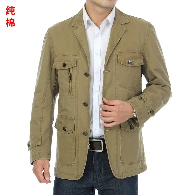 中年男士春秋季西服男装中老年单件西服纯棉休闲外套正品爸爸装