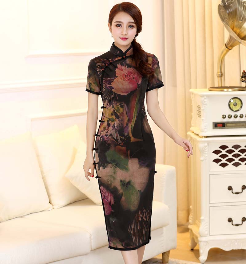 The sunrise he carries the original brand in Chinese custom blockbuster watered gauze silk elegant traditional manual package edge cardigan cheongsam
